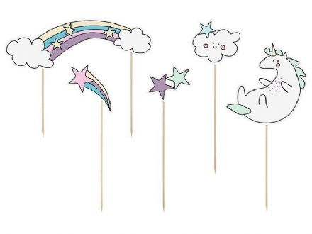 Unicorn Star Party Cake Toppers